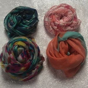 Lot of 4 spring weight scarves. Various brands.